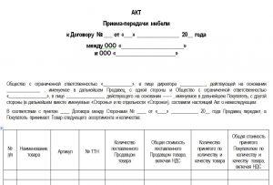 Акт приемки передачи товара по количеству